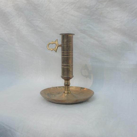 vtg 60s antique brass candle holder